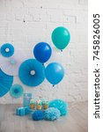 birthday decor | Shutterstock . vector #745826005