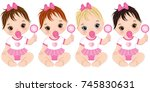 vector cute baby girls with... | Shutterstock .eps vector #745830631