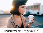 natural beauty pretty woman... | Shutterstock . vector #745832419