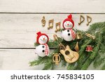 snowman with music notes ... | Shutterstock . vector #745834105