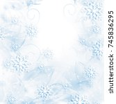snowflakes and stars descending ... | Shutterstock . vector #745836295