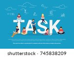 tasks concept vector...   Shutterstock . vector #745838209