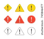 set of caution icons in flat...   Shutterstock .eps vector #745846477