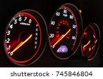 car dashboard auto speedometer...   Shutterstock . vector #745846804