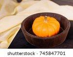little pumpkin on a dark wooden ... | Shutterstock . vector #745847701