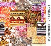 seamless ethnic ornamental...   Shutterstock . vector #745848175