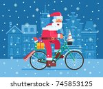 santa claus riding snow bicycle ... | Shutterstock .eps vector #745853125