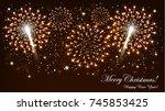 cheerful christmas celebration... | Shutterstock .eps vector #745853425