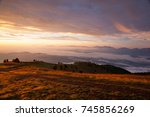 autumn scenery in ski resort in ... | Shutterstock . vector #745856269