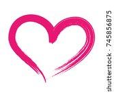 brush drawing heart love... | Shutterstock .eps vector #745856875