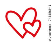 hearts icon symbol of love on... | Shutterstock .eps vector #745856941