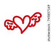 romantic winged heart... | Shutterstock .eps vector #745857169