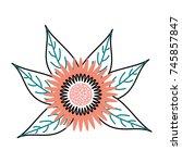 dahlia flower floral ornament... | Shutterstock .eps vector #745857847