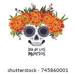 vector sugar skull with... | Shutterstock .eps vector #745860001