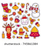 cute kitten  deer  snowman. set ... | Shutterstock .eps vector #745861384