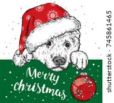 a beautiful dog in a christmas... | Shutterstock .eps vector #745861465