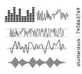 signal wave set. analog signals ... | Shutterstock . vector #745863769