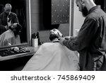 barbershop theme. bald bearded... | Shutterstock . vector #745869409