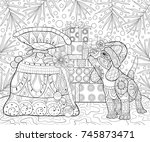 adult coloring page book a... | Shutterstock .eps vector #745873471