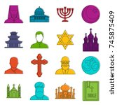 religious symbol icons set....   Shutterstock .eps vector #745875409