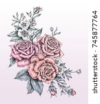 rose drawing in tattoo style | Shutterstock . vector #745877764