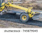 motor grader with a blade...   Shutterstock . vector #745879045