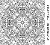 adult colouring book page with... | Shutterstock .eps vector #745885465
