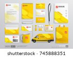 mock up set of corporate brand... | Shutterstock .eps vector #745888351