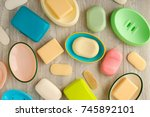 soap and soap dishes. view from ...   Shutterstock . vector #745892101