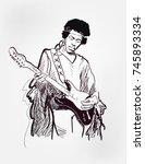 jimi hendrix american singer...   Shutterstock .eps vector #745893334
