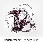janis lyn joplin american... | Shutterstock .eps vector #745893349