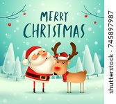 merry christmas  santa claus... | Shutterstock .eps vector #745897987