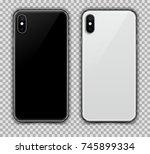 realistic black and white slim... | Shutterstock .eps vector #745899334