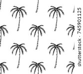 seamless tropical palms pattern.... | Shutterstock .eps vector #745901125