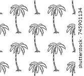 seamless tropical palms pattern.... | Shutterstock .eps vector #745901134