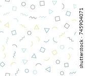 memphis seamless geometric... | Shutterstock .eps vector #745904071