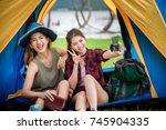 asian traveler women enjoy... | Shutterstock . vector #745904335