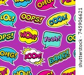 seamless colorful pattern with... | Shutterstock .eps vector #745906621