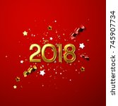 realistic 2018 golden numbers... | Shutterstock .eps vector #745907734