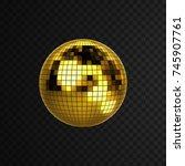 disco ball isolated on black... | Shutterstock .eps vector #745907761