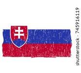grunge slovakia flag vector...   Shutterstock .eps vector #745916119