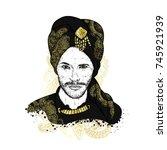 beautiful sultan in a turban...   Shutterstock .eps vector #745921939