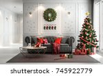 christmas living room with a... | Shutterstock . vector #745922779