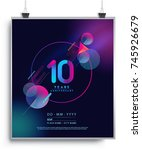 10 years anniversary logo with... | Shutterstock .eps vector #745926679