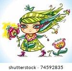 beautiful spring flower girl... | Shutterstock .eps vector #74592835