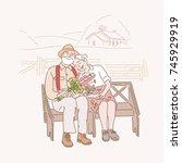an elderly couple sitting on a... | Shutterstock .eps vector #745929919