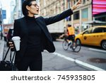 attractive businesswoman with... | Shutterstock . vector #745935805