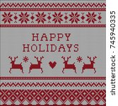 knitted ugly christmas sweater... | Shutterstock .eps vector #745940335