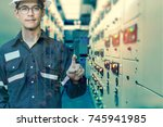double exposure of  engineer or ... | Shutterstock . vector #745941985