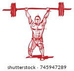 the athlete with a barbell in...   Shutterstock .eps vector #745947289